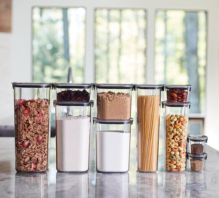 image of rubbermaid brilliance pantry food storage containers filled with pantry staples