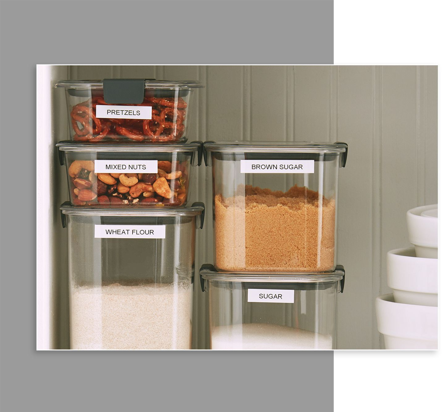 Rubbermaid brilliance pantry food storage containers stacked and labelled