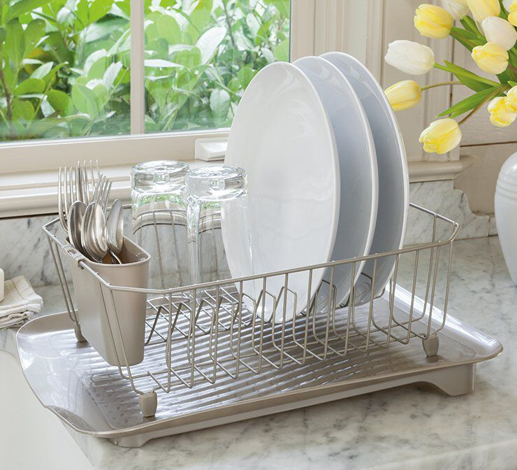 image of rubbermaid dish drainer next to sink