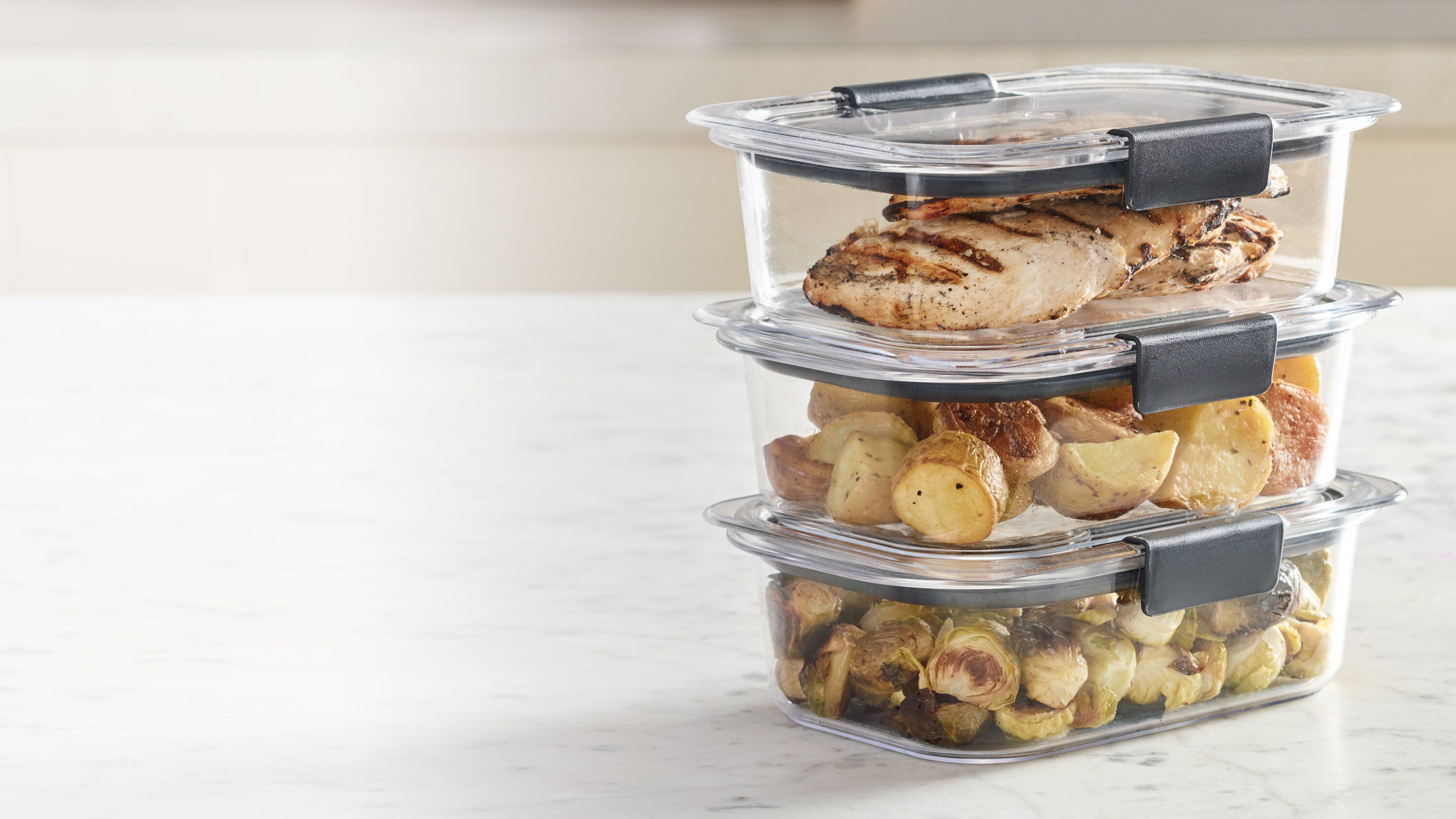 Rubbermaid brilliance food storage containers stacked