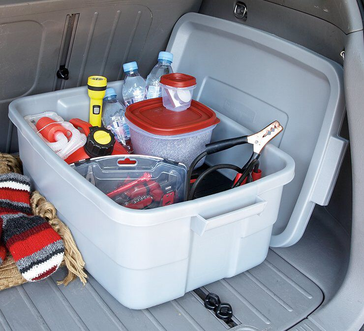 image of rubbermaid storage containers in trunk of van
