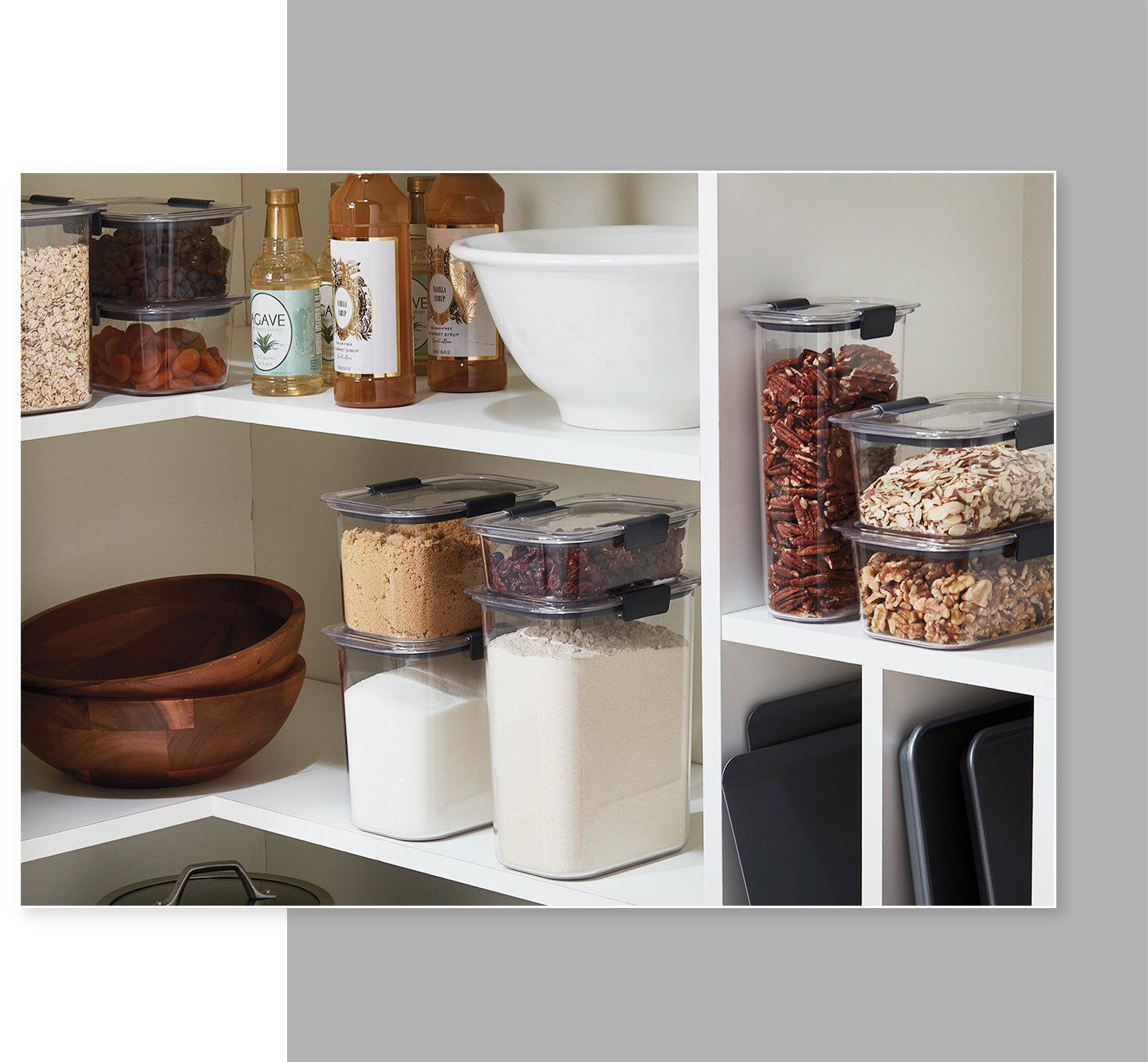 Rubbermaid brilliance pantry food storage containers stacked