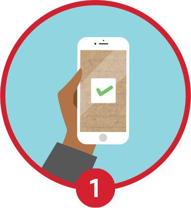 mobile phone with check mark illustration