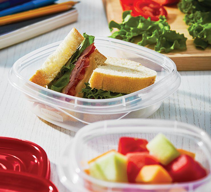 image of rubbermaid easy find lids meal prep food storage containers on counter