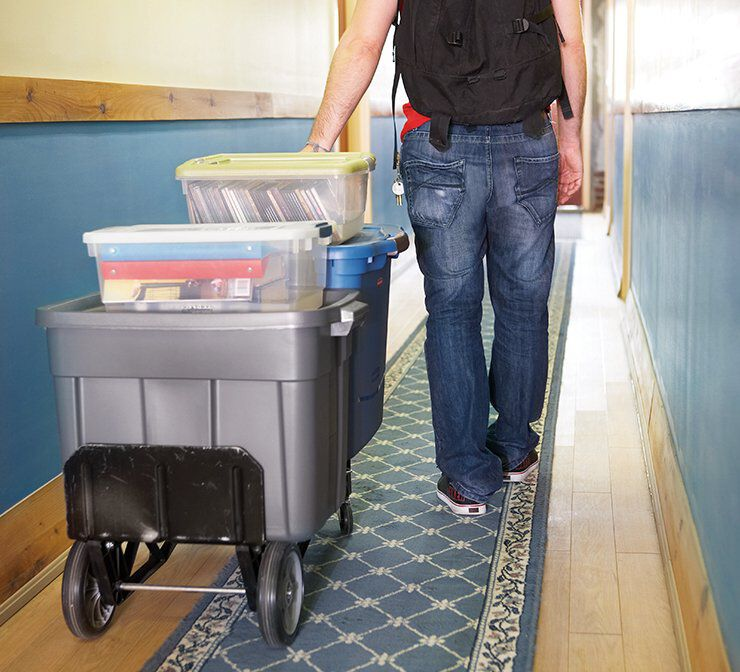 image of rubbermaid storage containers on a push cart