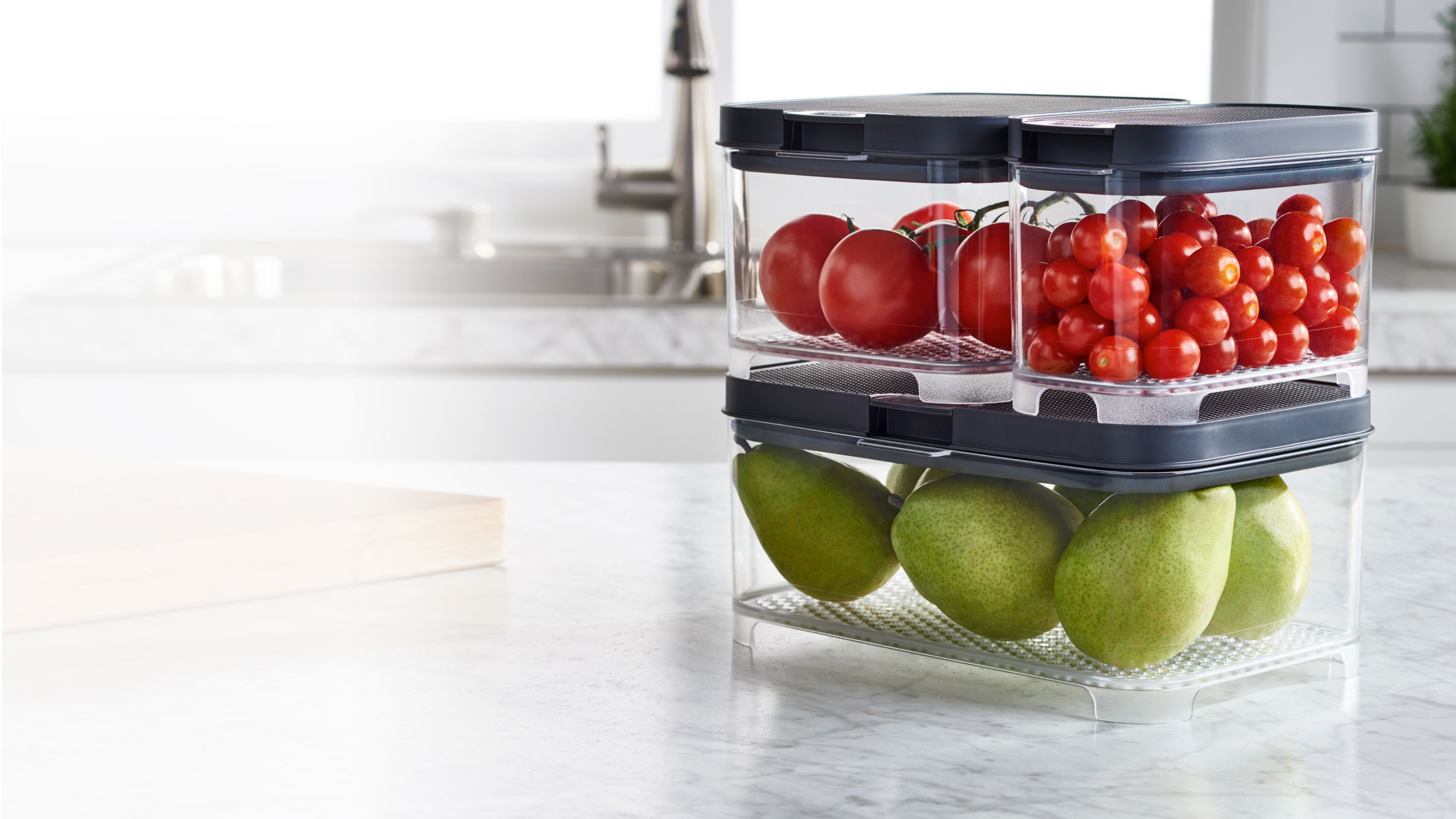 Rubbermaid FreshWorks countertop produce storage containers stacked