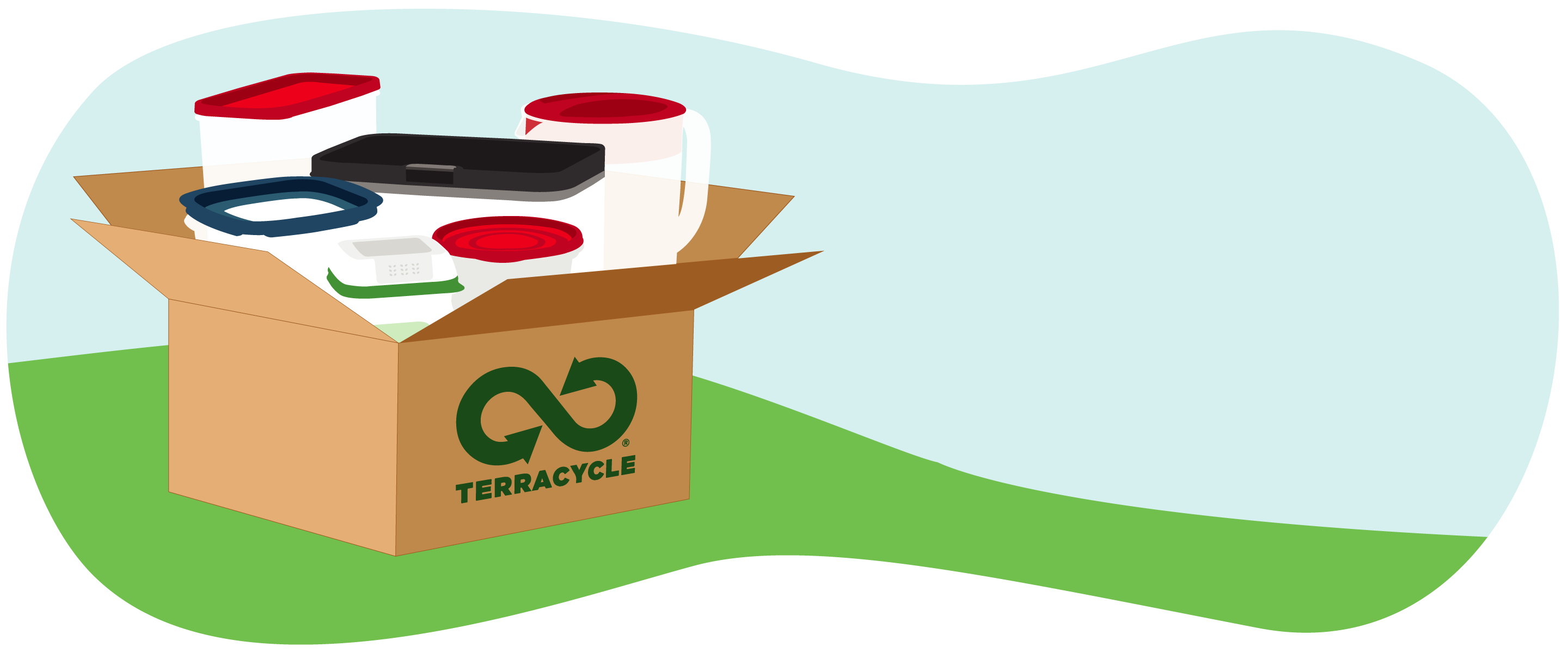 plastic items in brown terracycle box illustration